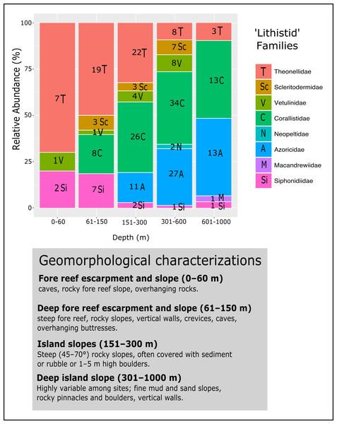 Bathymetric distribution and relative abundance (%) of TWA desma-bearing demosponges based on 234 samples of eight families.
