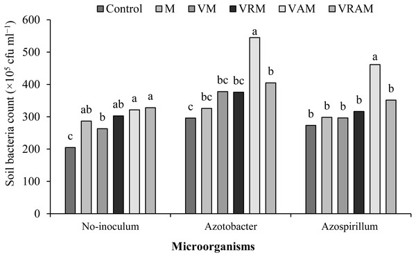 Mean comparison of effect of organic amendment on viable anaerobic bacteria count (×105 CFU ml) under inoculation with N2-fixing bacteria.