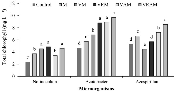 Mean comparison of effect of organic amendment on total chlorophyll under inoculation with N2-fixing bacteria.