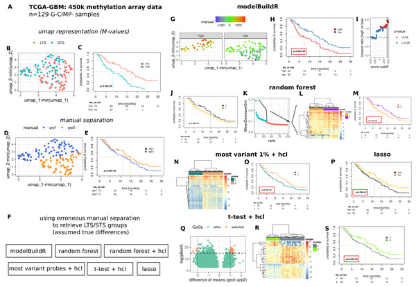 Comparative evaluation of the novel proposed heuristic to identify prognostically different G-CIMP-tumors from methylation array data.