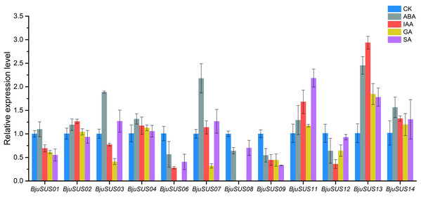 Expression profiles of BjuSUSs in response to treatment with abscisic acid (ABA), auxin (IAA), gibberellin (GA) and salicylic acid (SA).