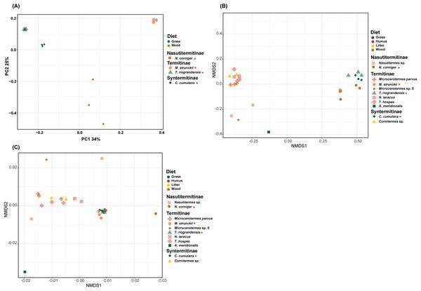 Beta-diversity NMDS plot of Unifrac distances.