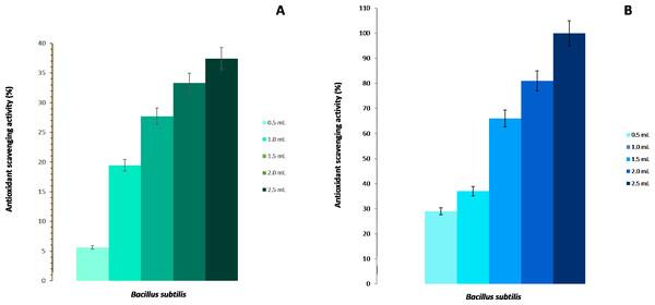 Antioxidant activity of Bacillus subtilis strain BMB 44.