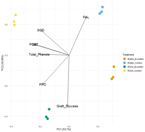 Principal component analysis (PCA) of enzyme activity, total phenols and graft success of tomato grafted plants.