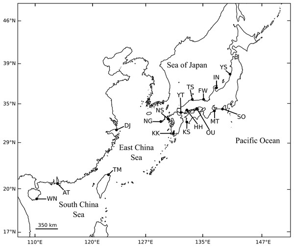 Collection sites of A.schlegelii specimens used in this study. Fully details of populations are described in Table 1.