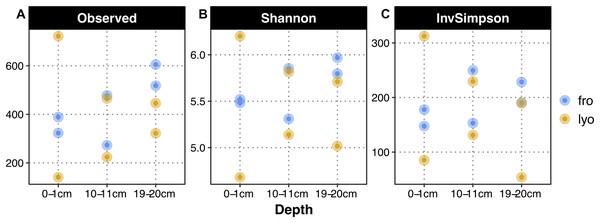 Alpha diversity metrics as a function of sediment treatment and depth.