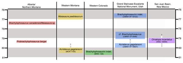 Chronostratigraphic and geographic distribution of Brachylophosaurini in Laramidia.