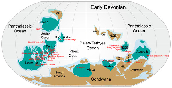 Nostolepis distribution in Lower Palaeozoic terranes around 400 Ma (Early Devonian).