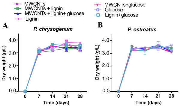 Growth of P. chrysogenum and P. ostreatus on medium supplemented with MWCNTs.