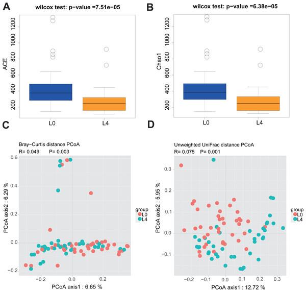 Liraglutide treatment affected the microbiota alpha diversity and beta diversity.