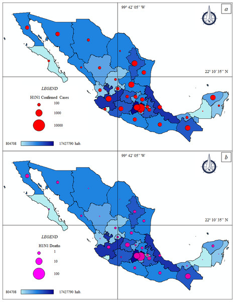 Thematic maps: Spatial distribution H1N1 pandemic in Mexico—population size.
