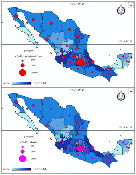 Thematic maps: Spatial distribution COVID-19 pandemic in Mexico—population size.