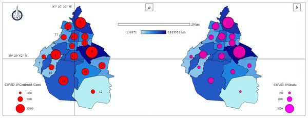 Thematic maps: Spatial distribution COVID-19 pandemic in Mexico City—population size.