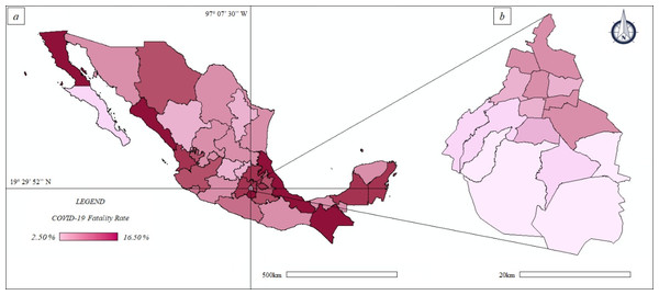 Thematic maps: spatial distribution COVID-19 fatality rate in Mexico and Mexico City—population size.