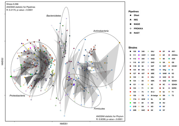 Non-metric Multi-Dimensional Scaling (NMDS) plot of the metabolic networks of the different bacterial strains and pipelines.