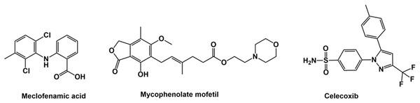 Structure of meclofenamic acid, mycophenolate mofetil and celecoxib.