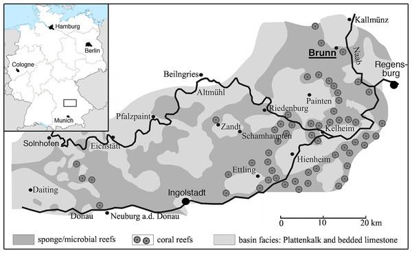 Map of the area between Solnhofen and Regensburg.