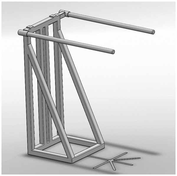 Schematic representation of the metal frame used to fixate the load cell.