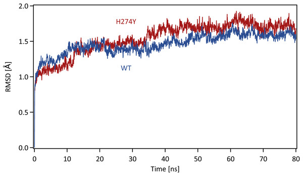 Time series of the root mean square displacement (RMSD).