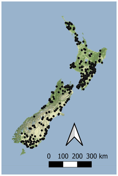 The location of sites with concurrent macroinvertebrate and nutrient monitoring across New Zealand.
