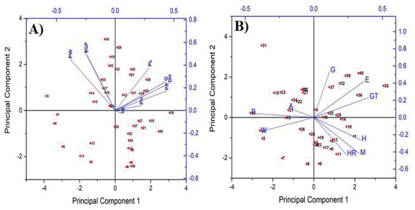 Principle component analysis (PCA) to better understand the variability of genotypes (red dots) and yield (A) with its components (blue vectors) as well as quality (B) (blue vectors).