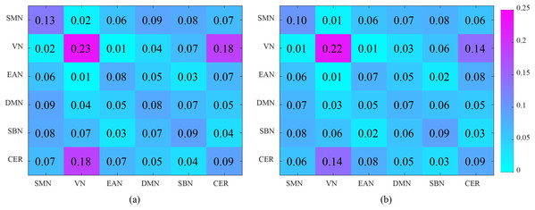 Analysis of the interaction between the six functional networks. (A) and (B) show the interaction matrix between different brain networks of NC and ASD, respectively.