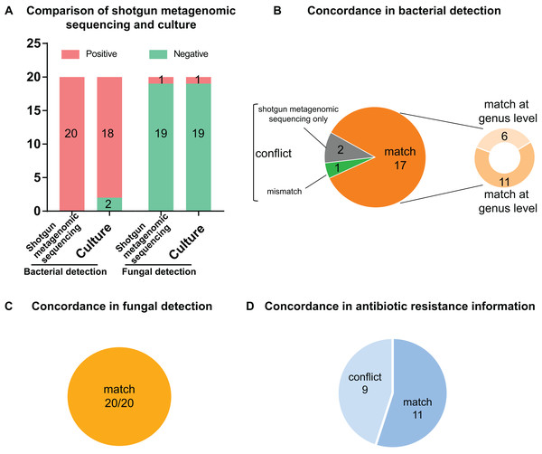 Comparison and concordance analysis between shotgun metagenomic sequencing and culture in pathogen detection and drug resistance information.