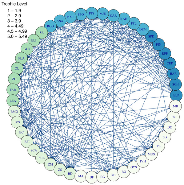 Foodweb coloured by trophic level from TBGB_AM diets summarised from the model simulation over years 1900–2014, from all model polygons and depth layers, and all species' age-classes.