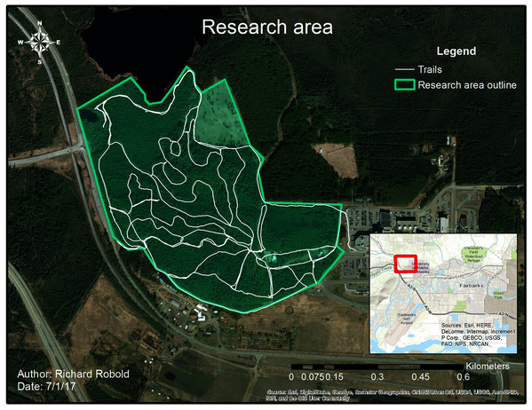Research area with trail system.