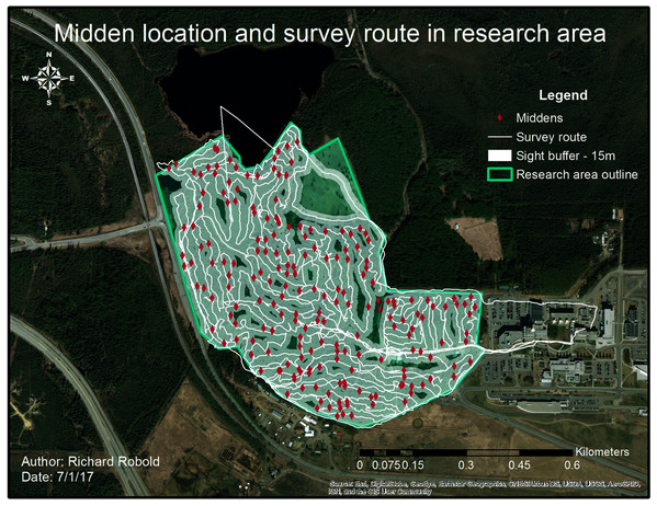 Middens and survey route within the research area.