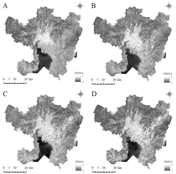 The spatial distribution of NDISA in the main urban area of Kunming.