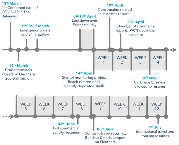 Timeline of COVID-19 pandemic and associated economic disruption on Eleuthera island, Bahamas in 2020.
