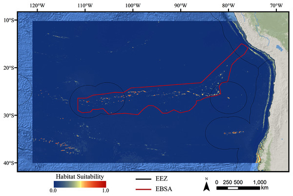 Predicted habitat suitability for the glass sponge ensemble model.