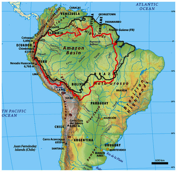 Outline map of the Amazon biome (red outline) and Amazon basin (black outline).