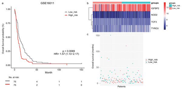 The survival analysis of the lymphocyte activation-associated gene signature in GSE16011 (n=150).