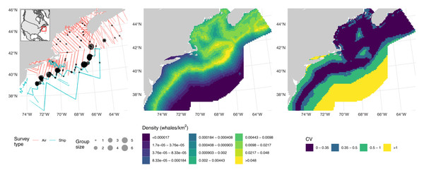 Fin whale data, predictions and uncertainty.