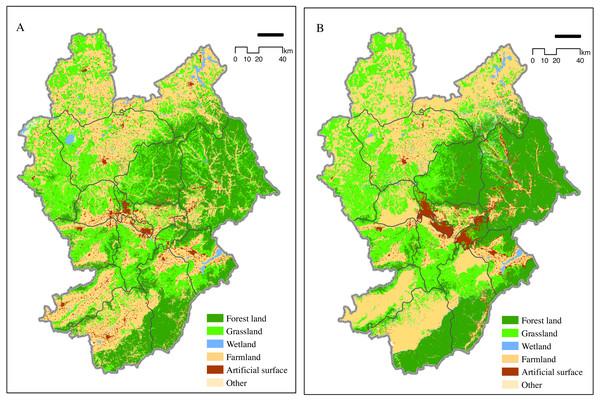 Zhangjiakou 2015 land use map (A) and 2025 simulation map (B).