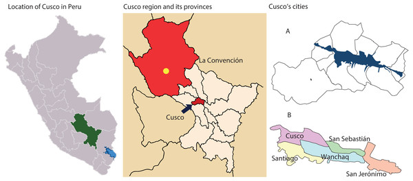 Map of Cusco, provinces, and cities.