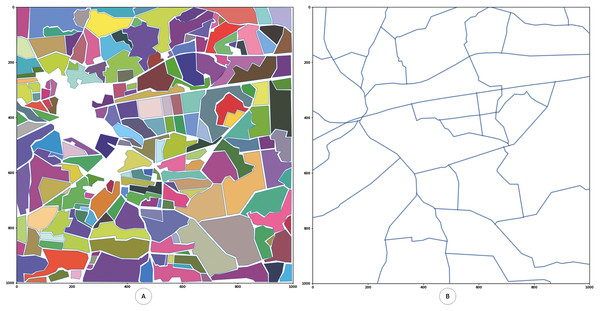 Generated digitized map of the region of interest with fields.