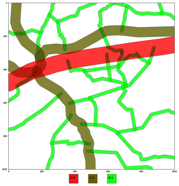 Encoding of the roads on a selected area.
