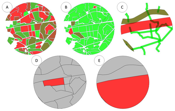 (A) Intersection of bee colony flight area with the field map with the field coefficients. (B) Intersection of bee colony flight area with the field map taking into account pesticide coefficients. (C) Intersection of bee colony flight area with the road layer. (D) Intersection of bee colony flight area with the polygon map between all roads displaying an active polygon. (E) Intersection of bee colony flight area with the polygon map between only main roads displaying an active polygon.