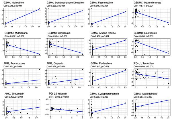 Scatter plots of top 16 classes of associations between pyroptosis genes and drug sensitivity.