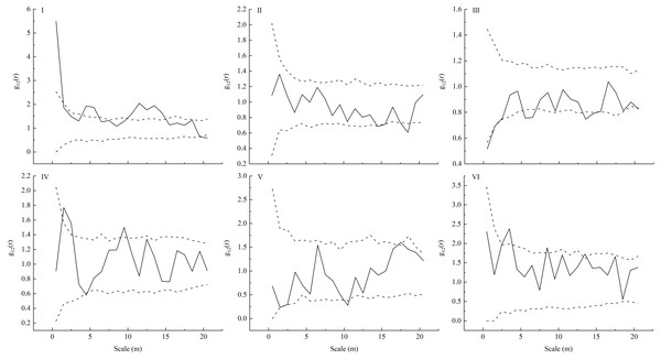 Bivariate analysis using null models (independence) for the competition (I-VI) between a pair of L. principis-rupprechtii seedlings and L. principis-rupprechtii adult trees.