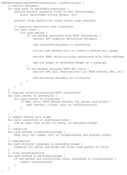 RBAC assessment pseudocode.