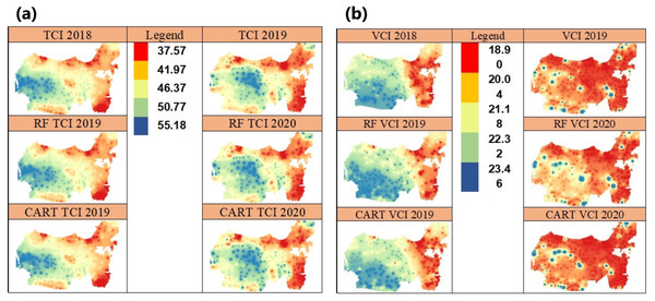 Spatial prediction in 2019–2020 using the IDW of TCI vegetation index (A) and the VCI vegetation index (B)