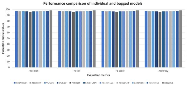 Individual and bagged classifiers' performances on Ekush dataset.