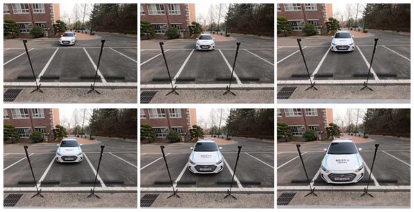 Snapshots of the experiment with a real vehicle.